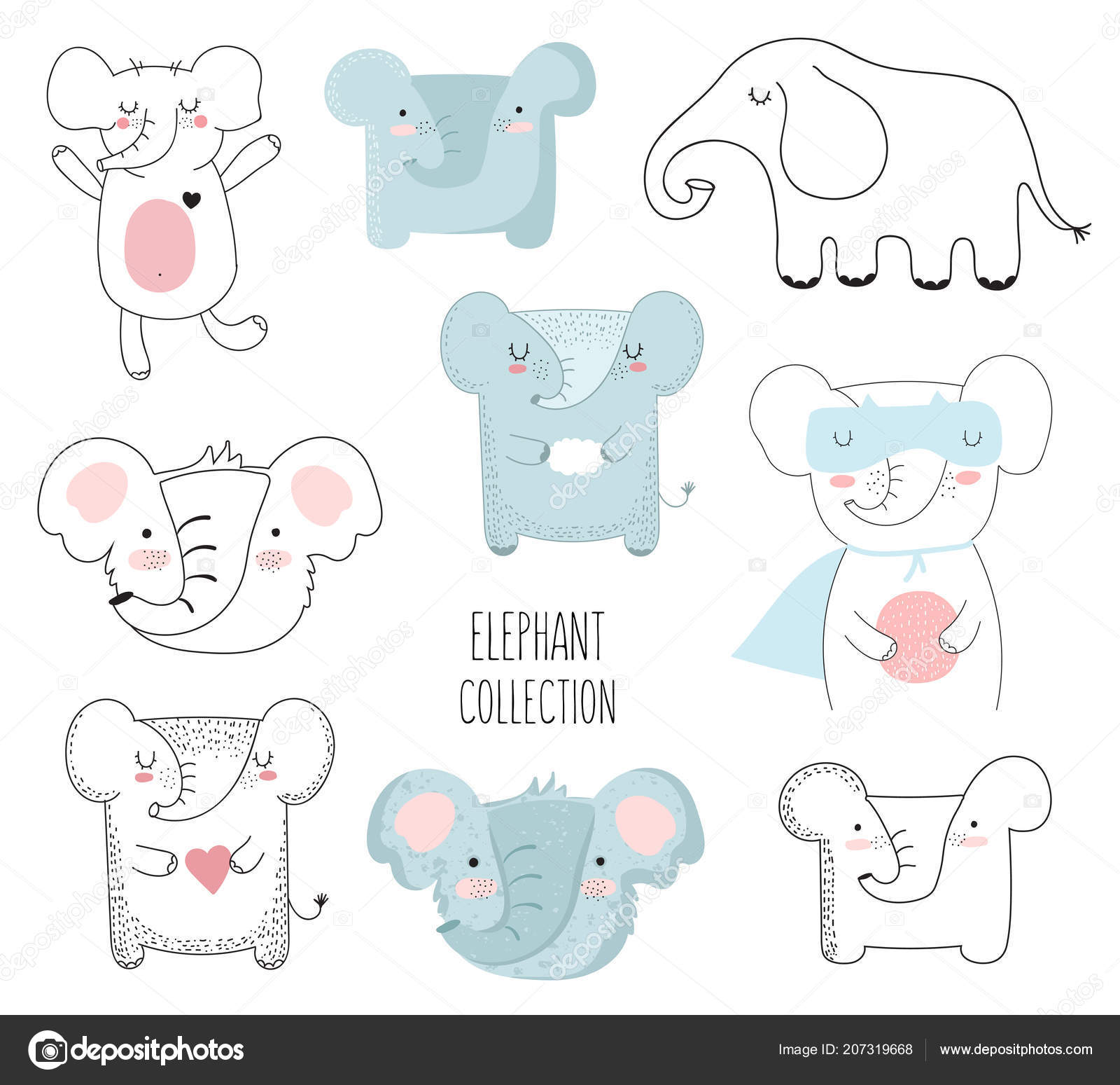 Vector collection of cute doodle elephant. Adorable objects isolated on  background. Valentine s day, anniversary, baby shower, birthday party —  Vecteur par ... 8cc0564c11d