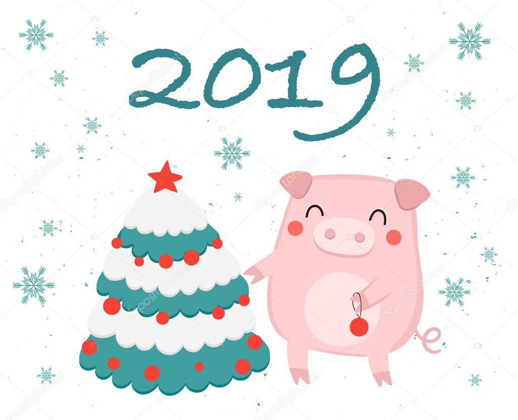 Декоративные открытки на новый 2019 год