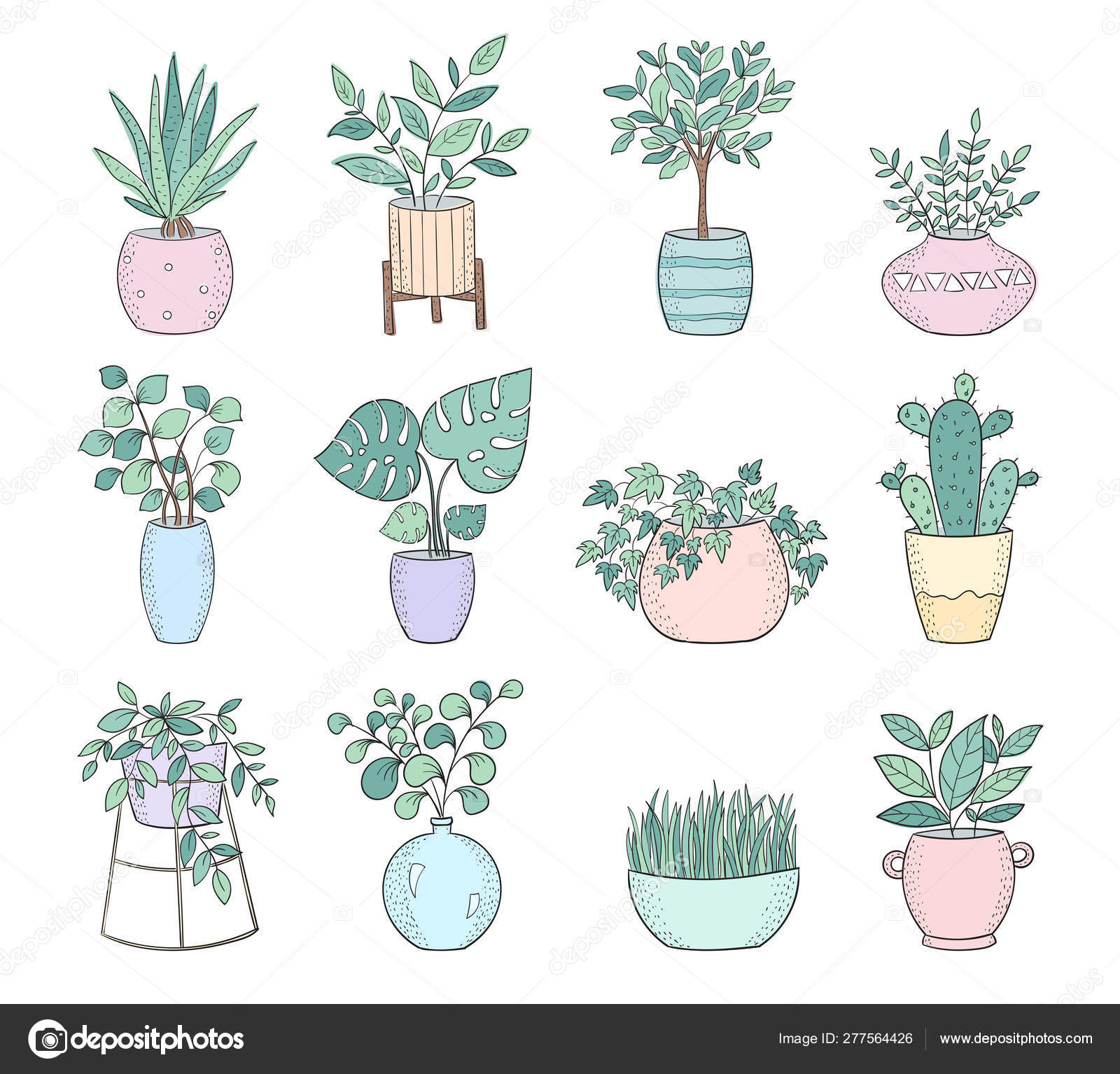 Set Of Cute House Plants In Pots Vector Image By C Tiny Selena Vector Stock 277564426