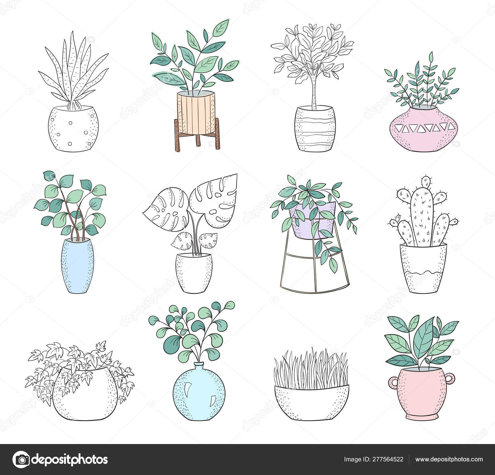 Set Of Cute House Plants In Pots Vector Image By C Tiny Selena Vector Stock 277564522