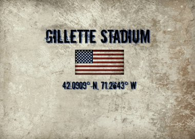Map coordinates for Gillette Stadium in Foxboro, MA.  Home of the New England Patriots and New England Revolution.