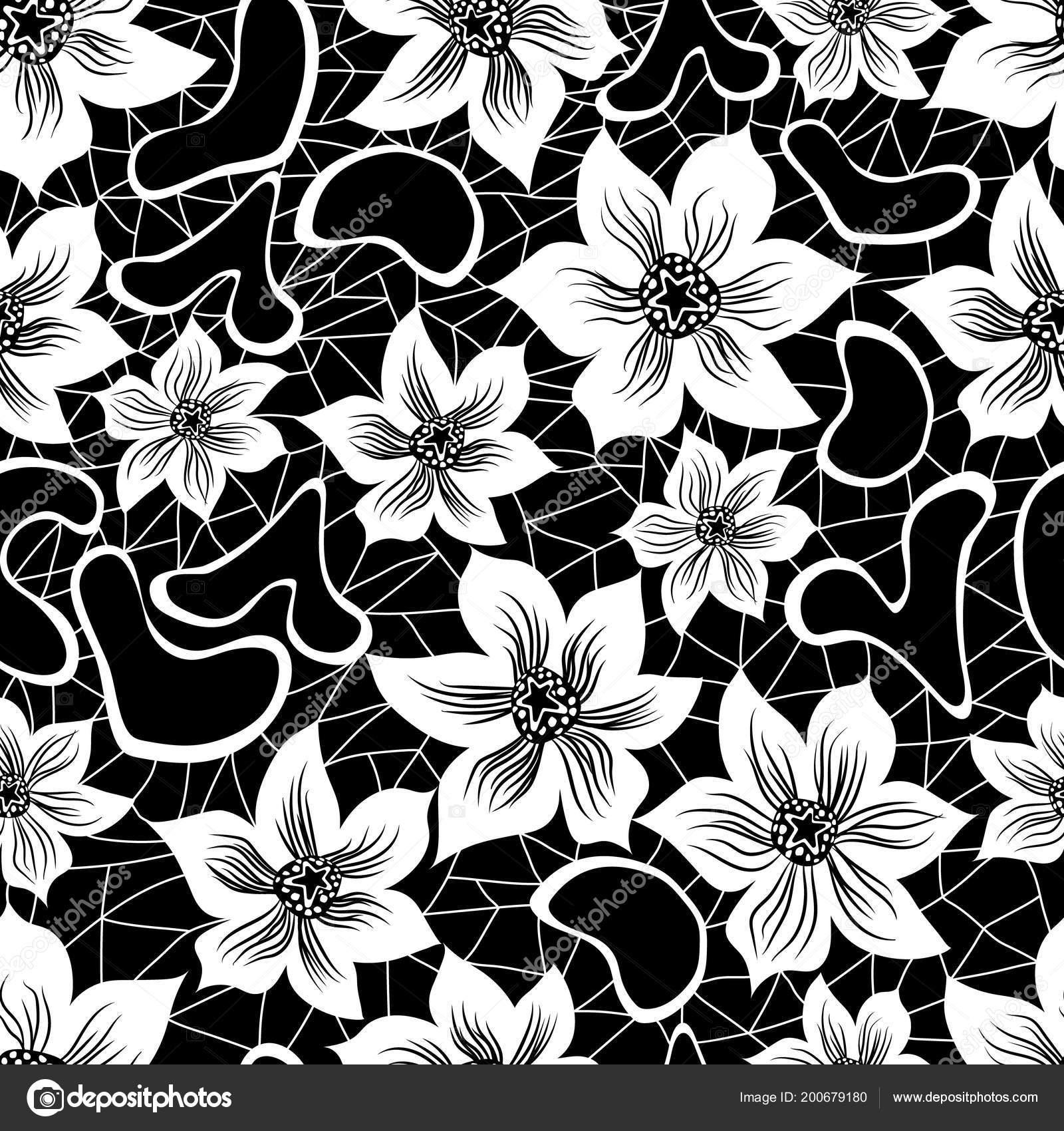 Floral Pattern Black Background