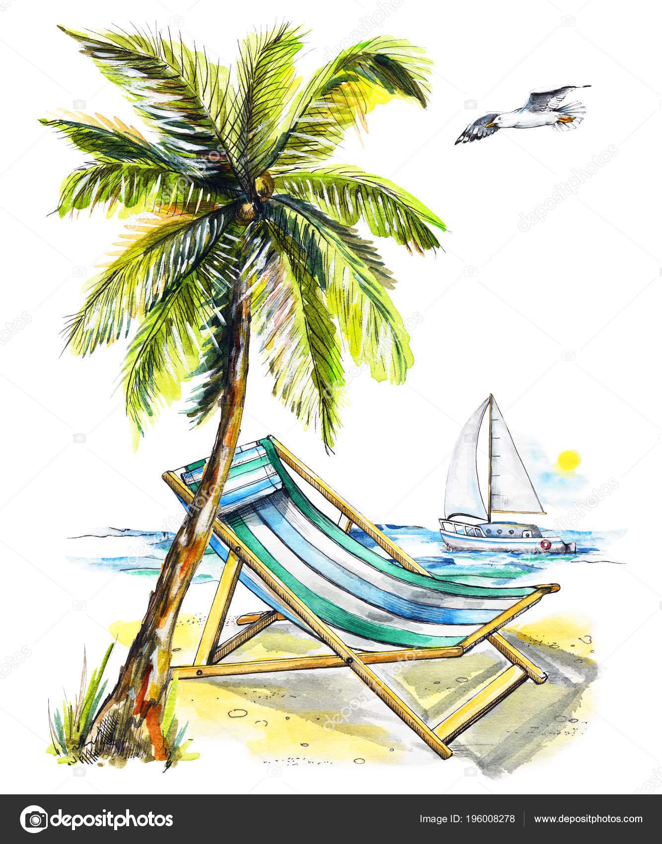 Chaise Avec Yacht Mouette Sur Palmier Plage Composition Longue 1JFcTlK