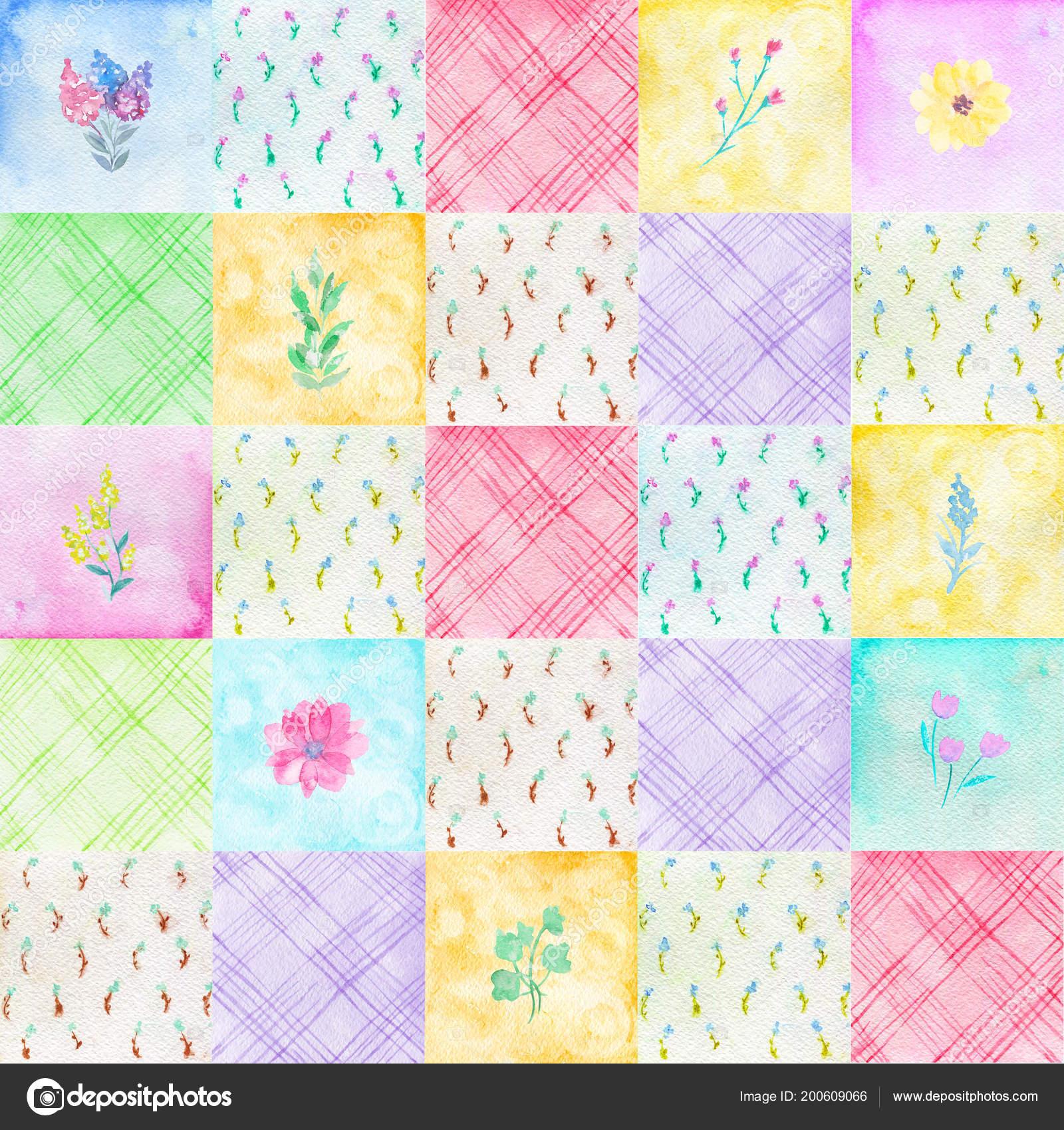 Varrat Nélküli Mintát Színes Virágok Maradékot Színes Festett Akvarell  Patchwork — Stock Fotó cdf0f06f5b