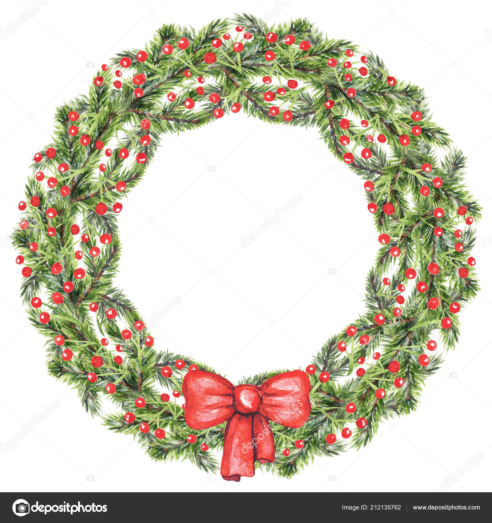 Christmas Wreath Berries Bow Spruce Branches Isolated White ...
