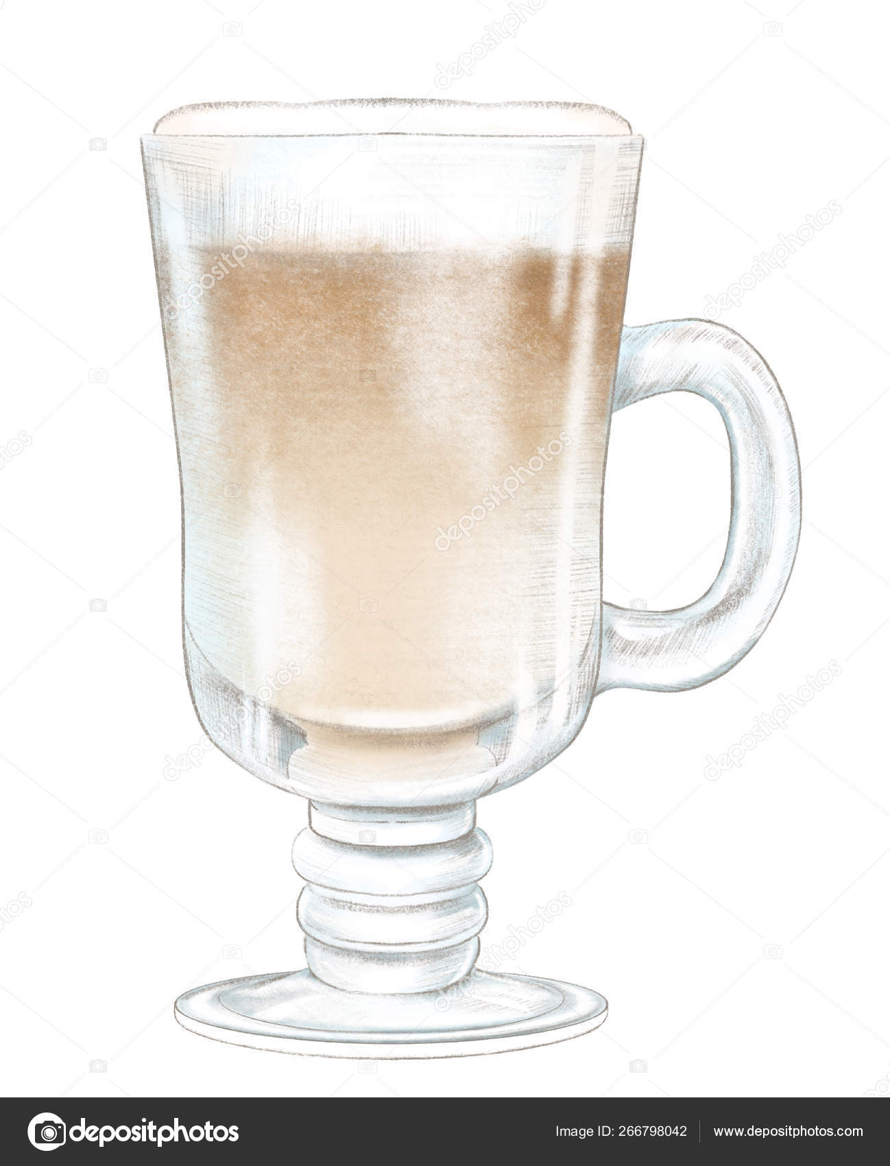Pencil drawing with brown hot drink on glass cup stock photo