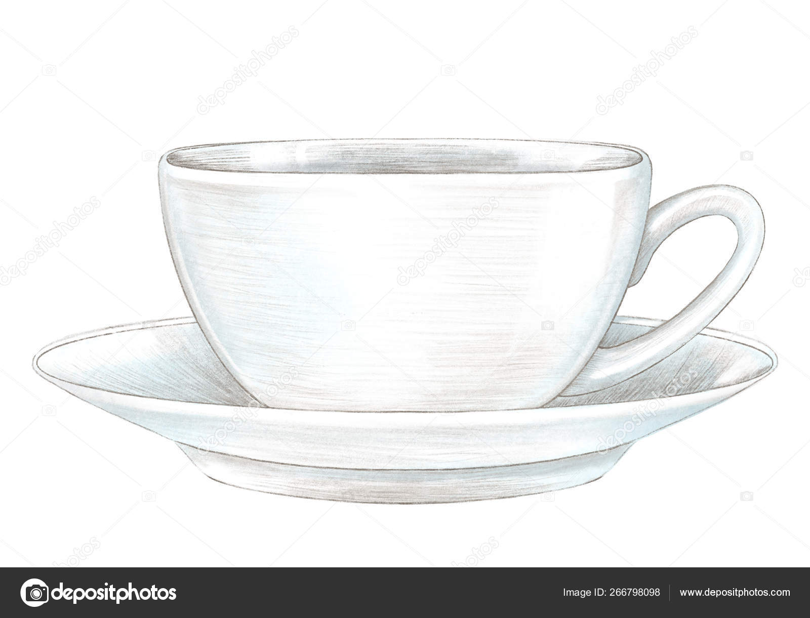 Pencil Drawing With Light Cup With Hot Drink On Saucer Stock Photo Image By C Mimomy 266798098