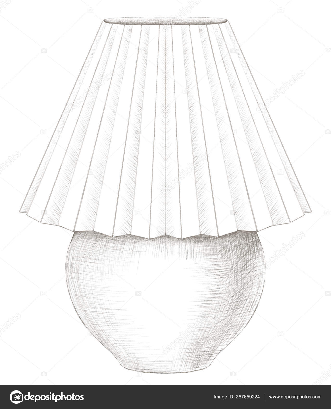Drawing Of Lamp Shade Pencil Drawing With Table Lamp With Lampshade Stock Photo C Mimomy 267659224