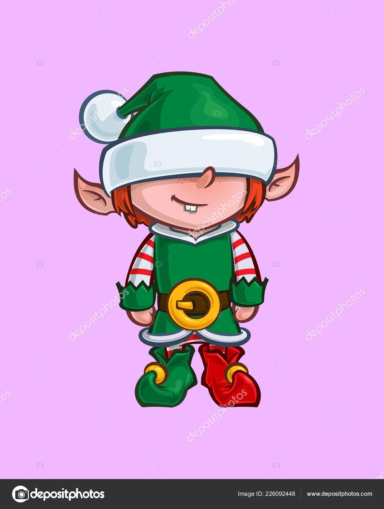 Ilustración Dibujos Animados Ayudante Minion Elfo Santa Icono Vector