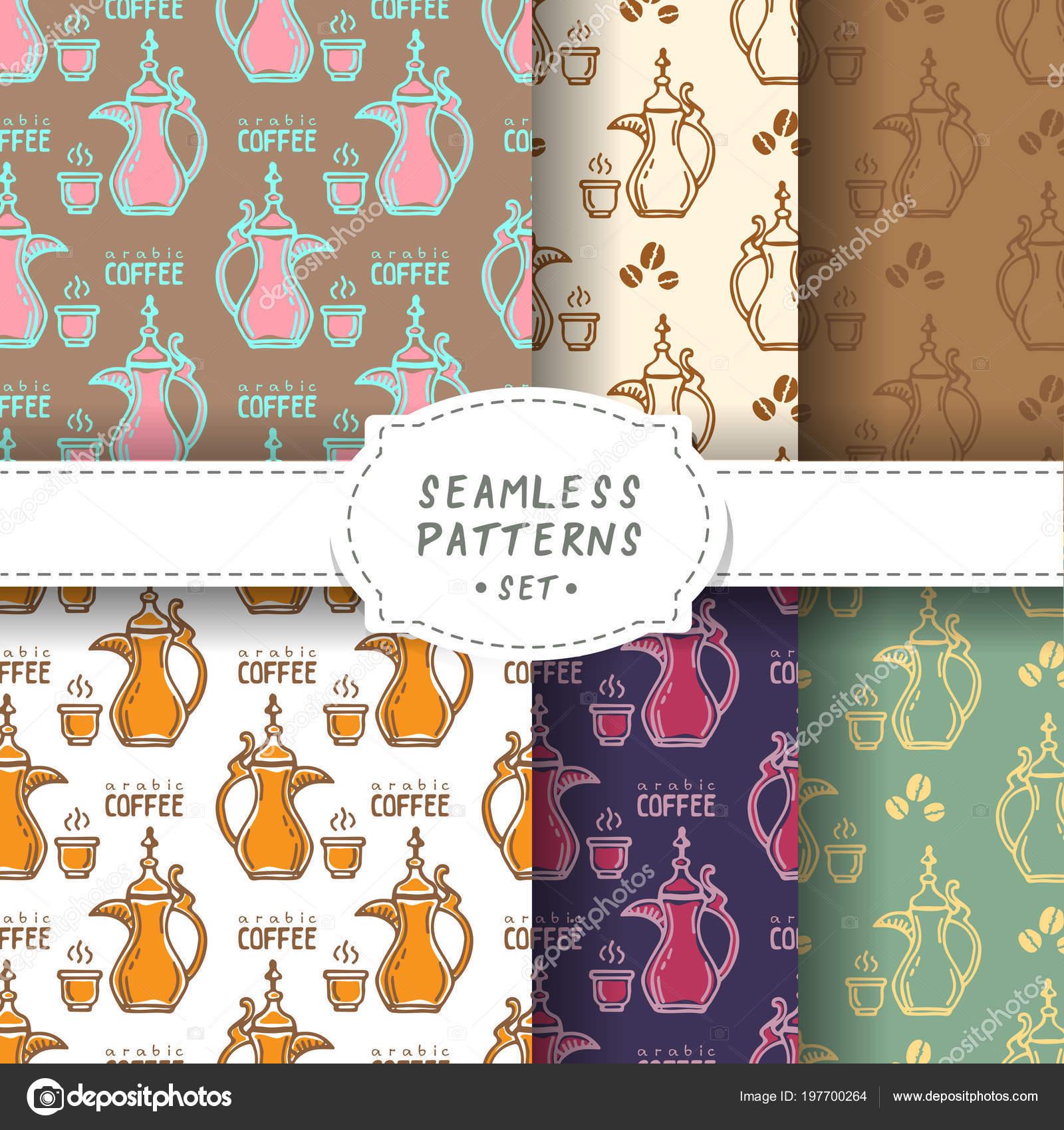 Arabic Coffee Pots Cups Seamless Patterns Set Design Element Cafe Stock Vector C Tokhiti 197700264