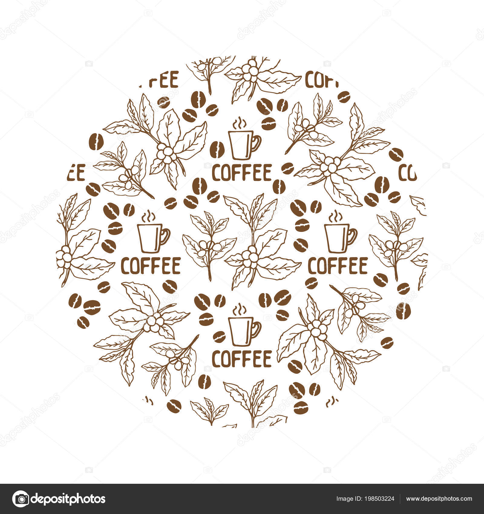 Circle Coffee Beans Frame Isolated White Background Design Element ...