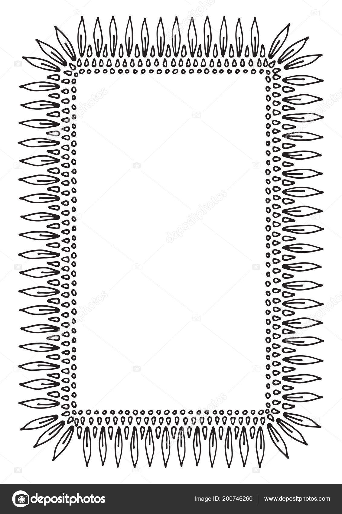 Hand Drawn Border Isolated On White Background Design Element For