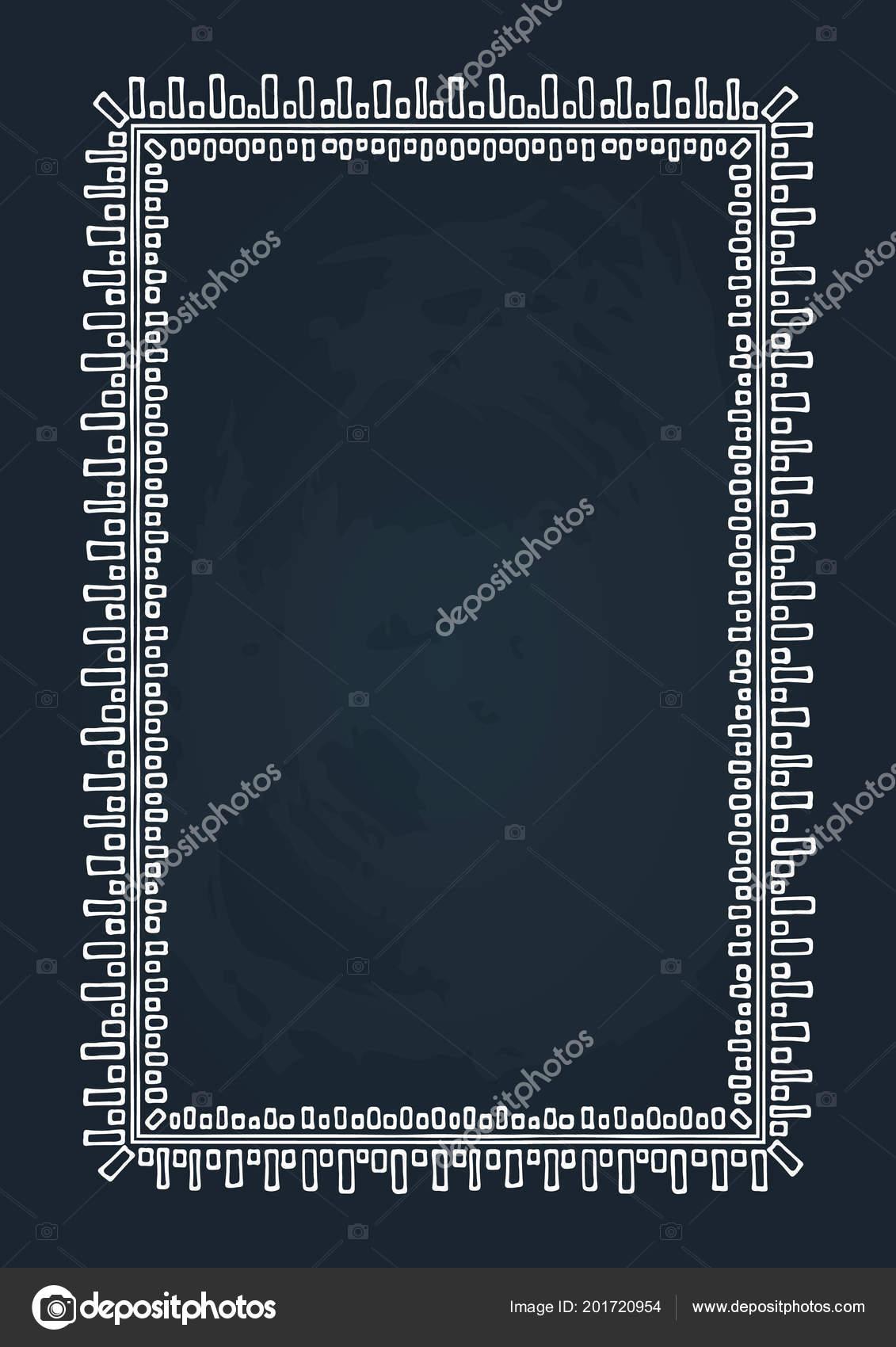 Hand Drawn Border Isolated Chalkboard Background Design Element Photo  Frames U2014 Stock Vector
