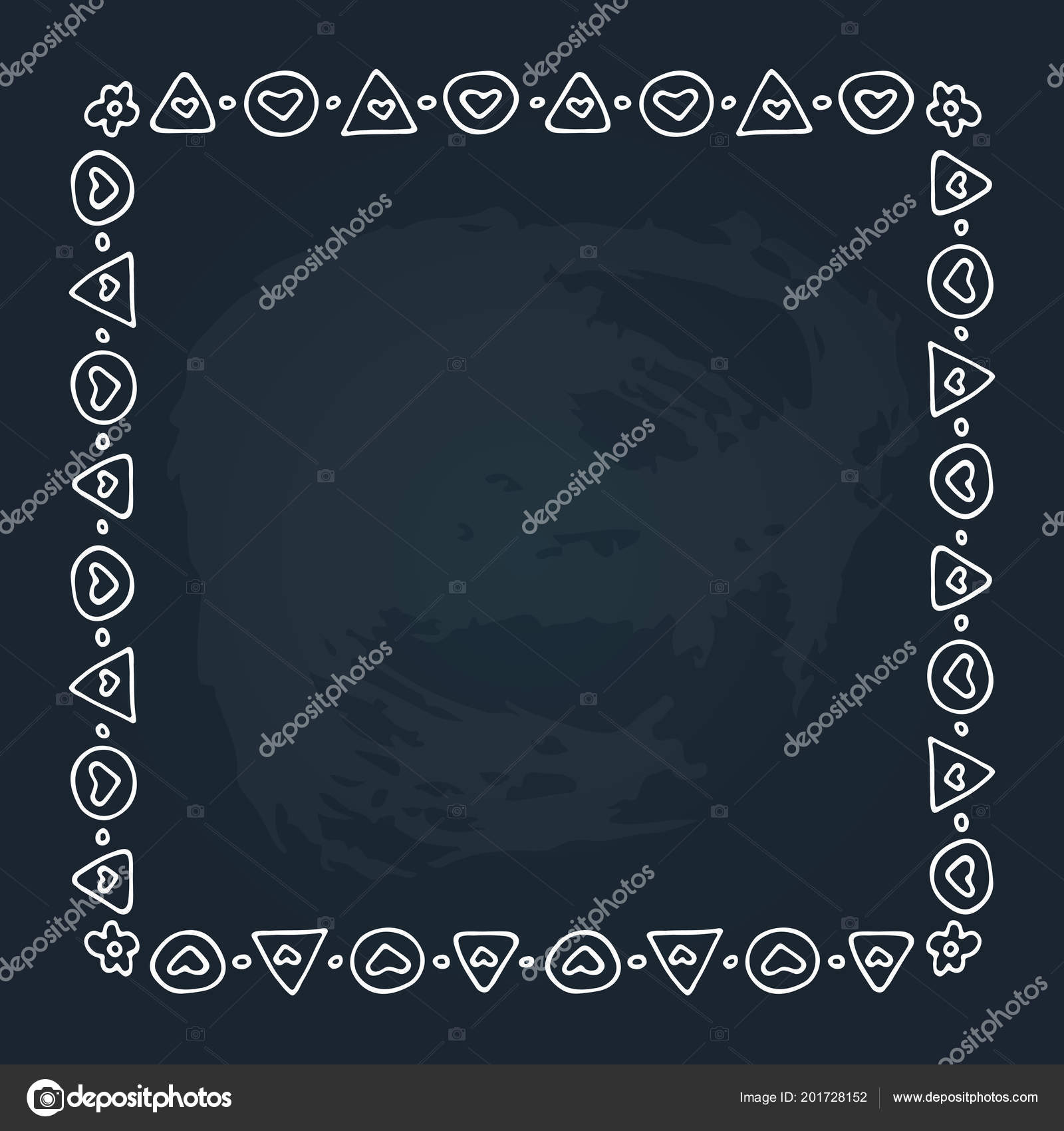 Hand Drawn Romantic Border Hearts Isolated Chalkboard Background Design Element Stock Vector