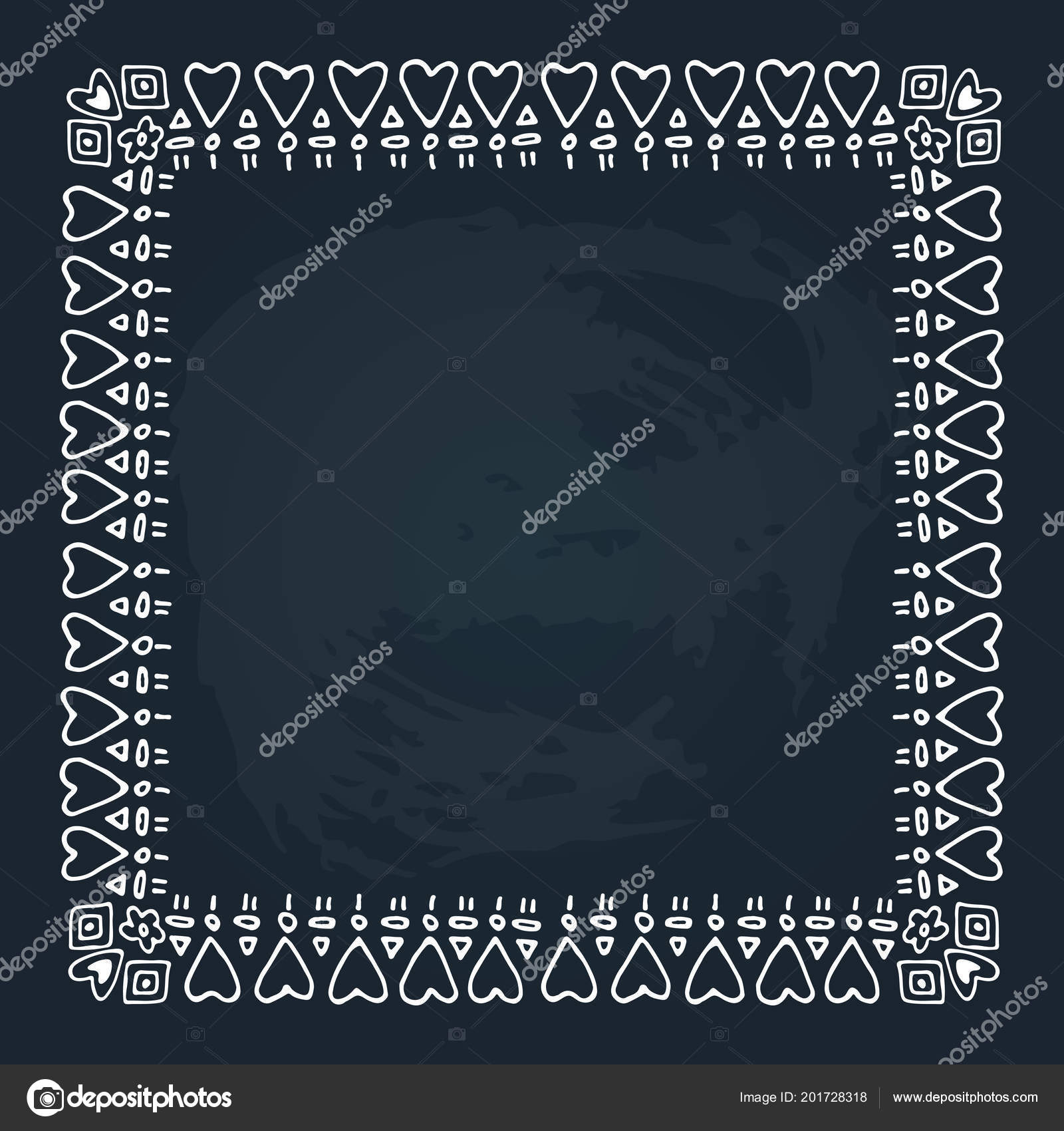 Hand Drawn Romantic Border Hearts Isolated Chalkboard Background