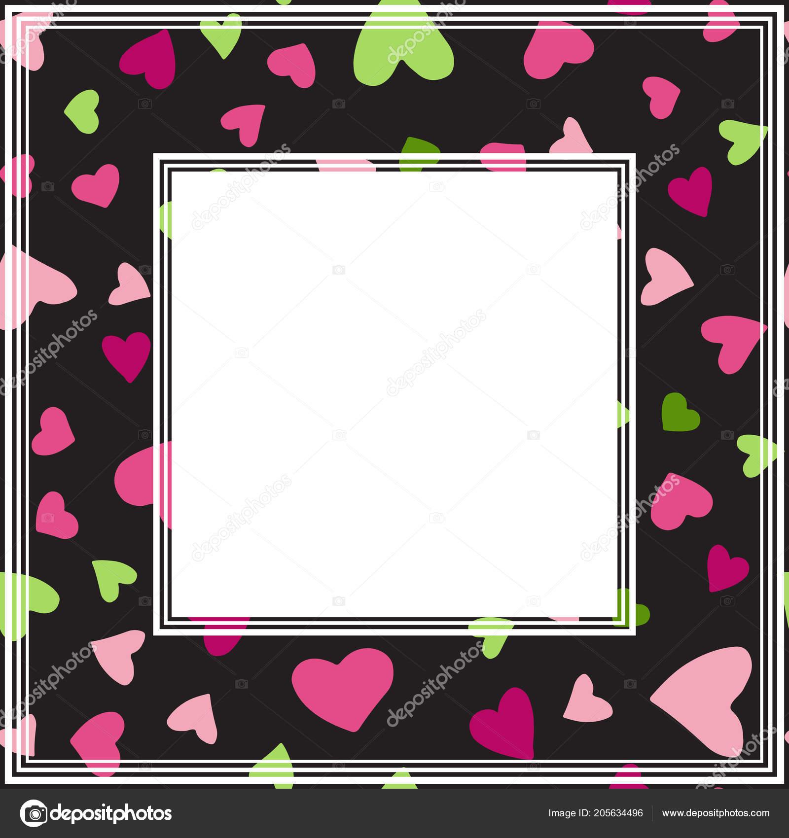 Romantic Border Hearts Valentines Day Illustration Design Element ...