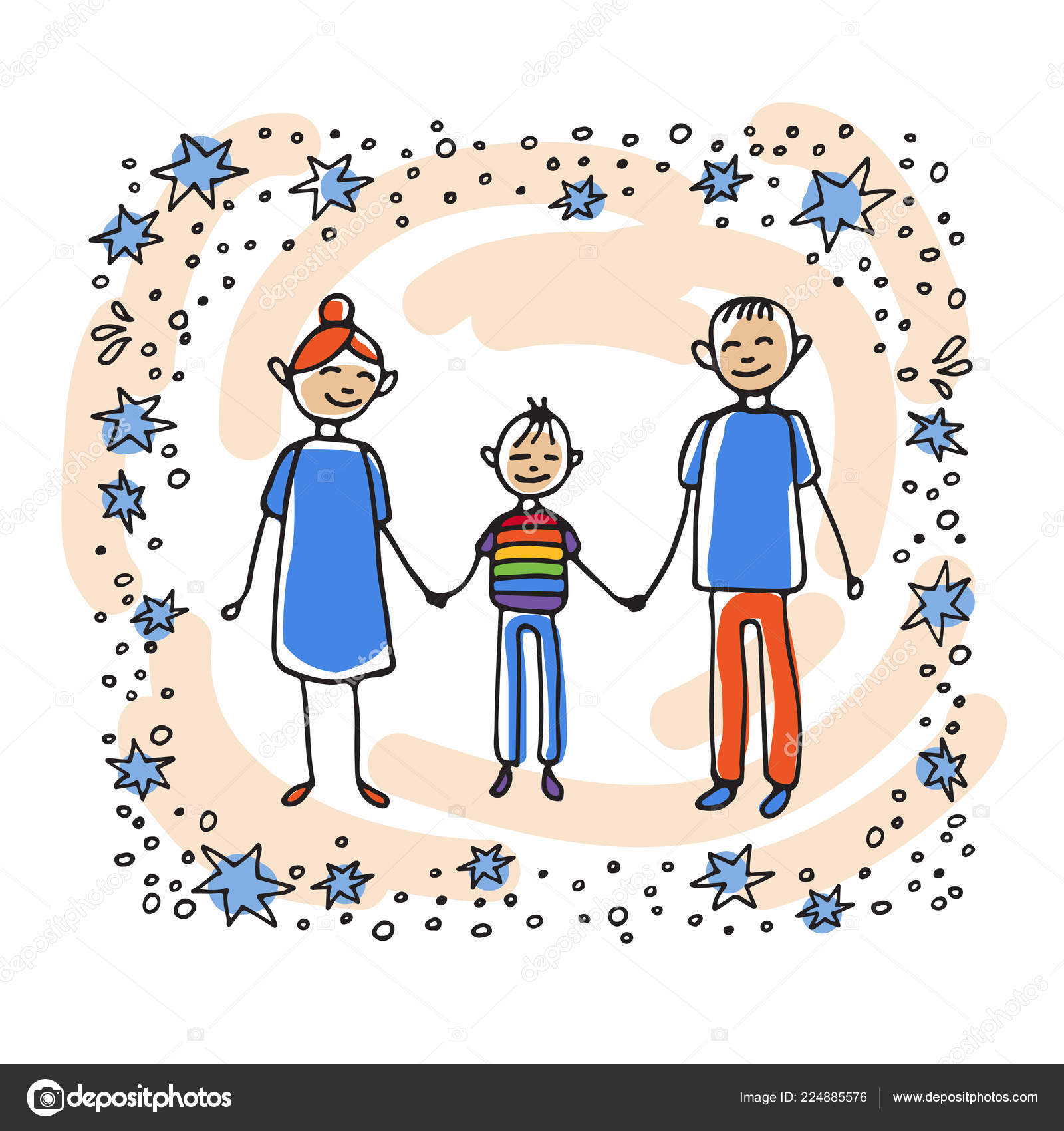 Happy Gay Teen His Parents Family Support Symbol Doodle Style — Stock Vector