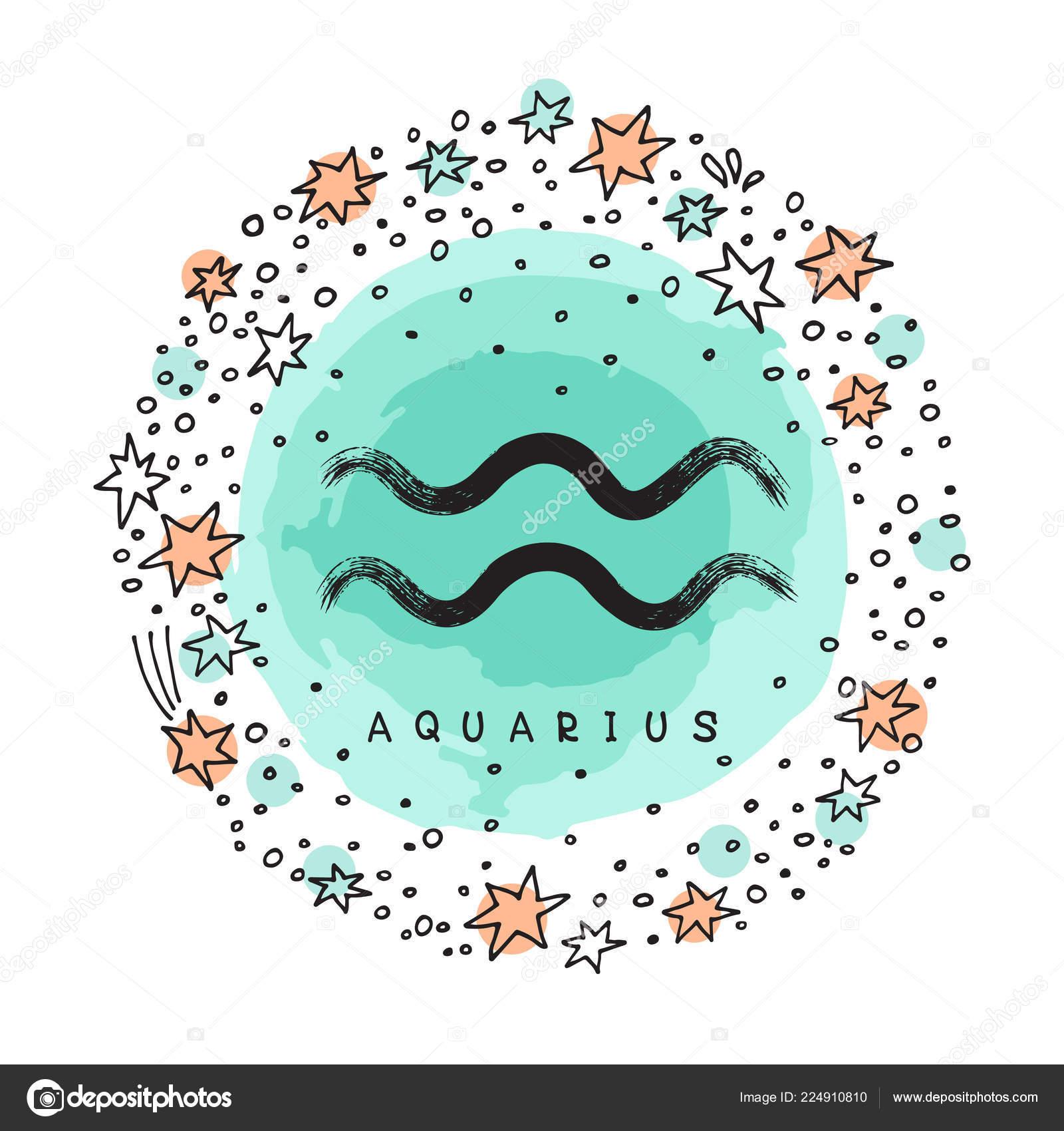 Disegno Acquario Segno Zodiacale.Segno Zodiacale Acquario Con Cornice Grunge Inchiostro