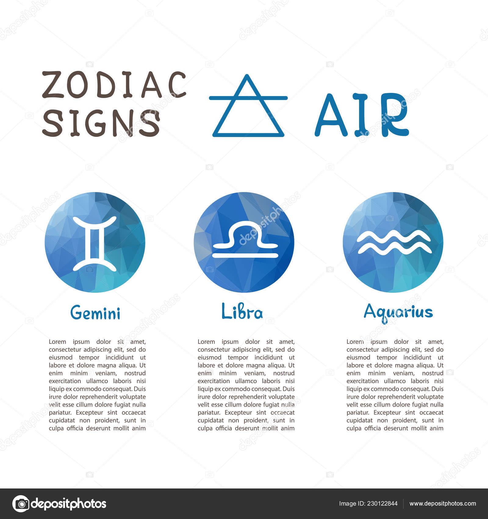 Zodiac Signs According Air Element Gemini Libra Aquarius