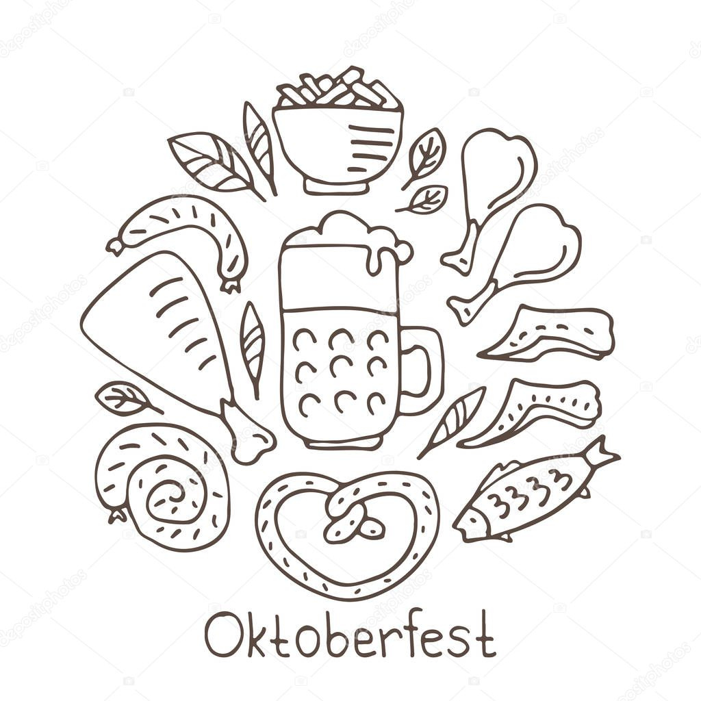 Oktoberfest Food Bavarian Pretzel And Sausages Beer Mug And Bottle Chicken Grill And Fish Sauerkraut October Beer Festival In The Munich Germany Vector Illustration Doodle Style Premium Vector In Adobe Illustrator