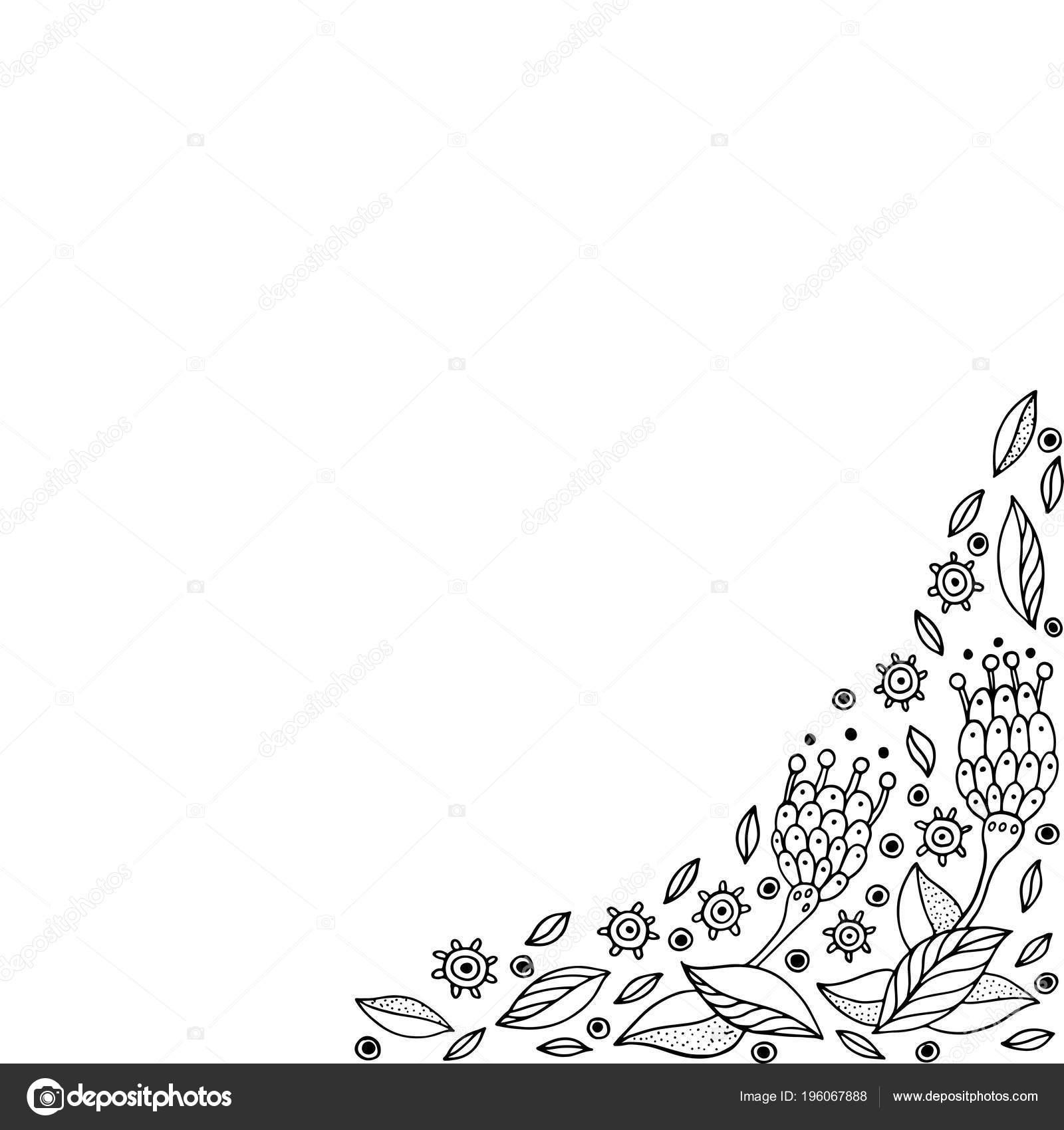 каракули рамка цветами раскраски взрослых векторные
