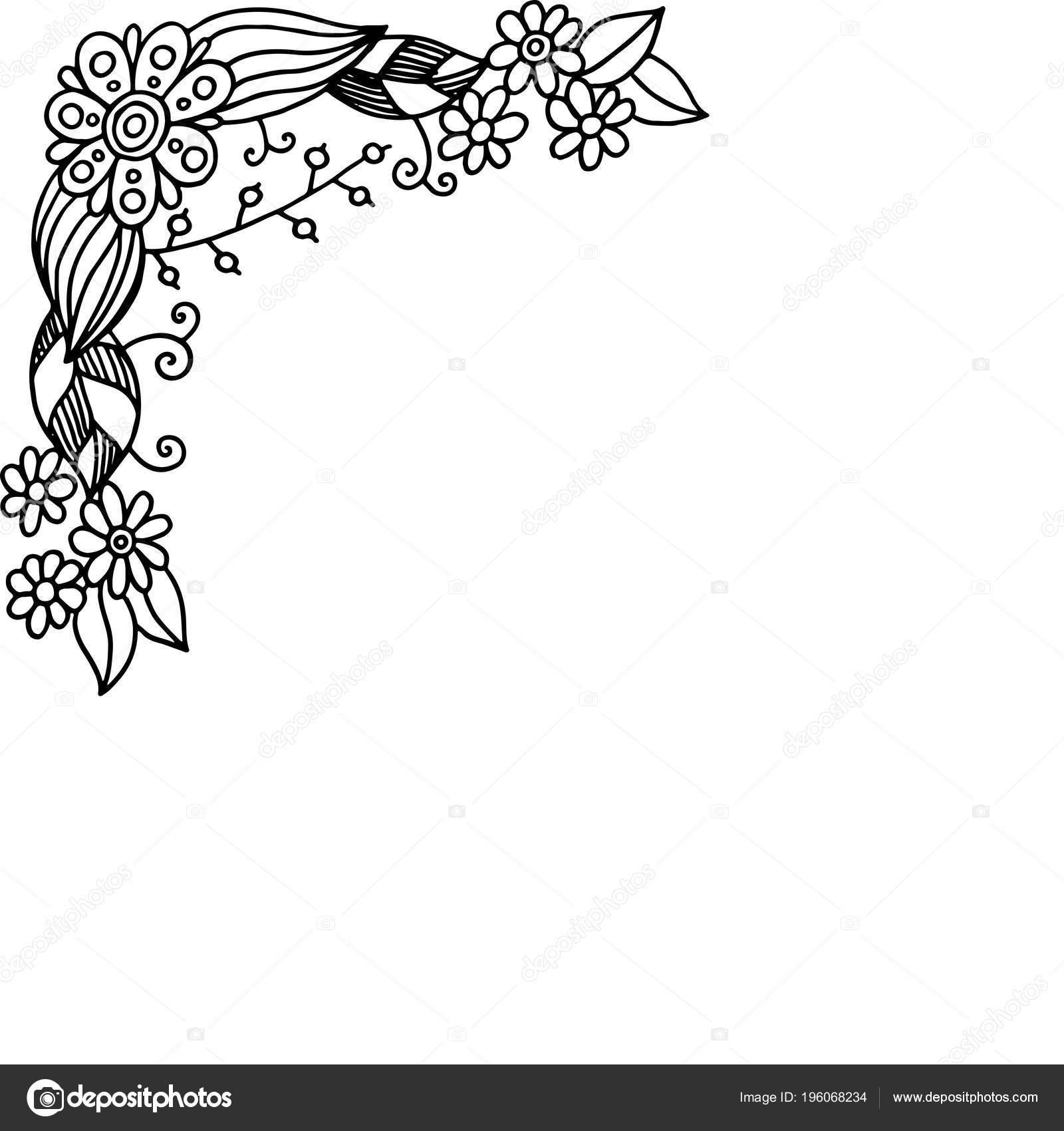 Blocco Grafici Doodle Con Fiori Estate Pagina Colorare Adulti