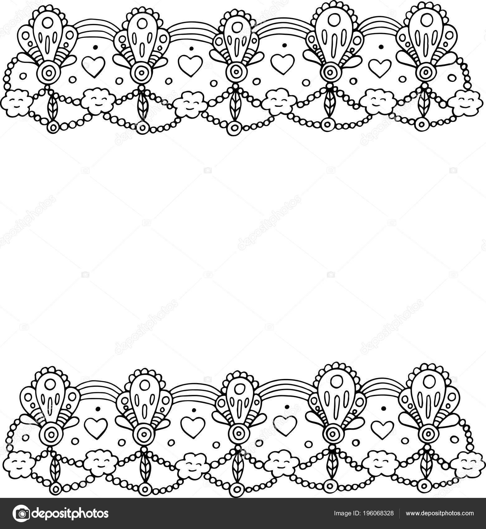 doodle frame met hartjes wolken kleurplaat voor