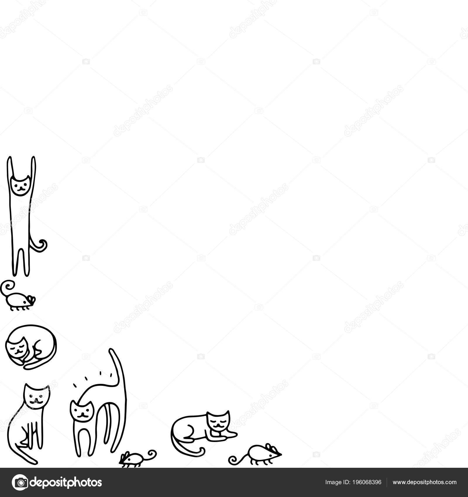 каракули рама смешные кошки раскраски взрослых векторные