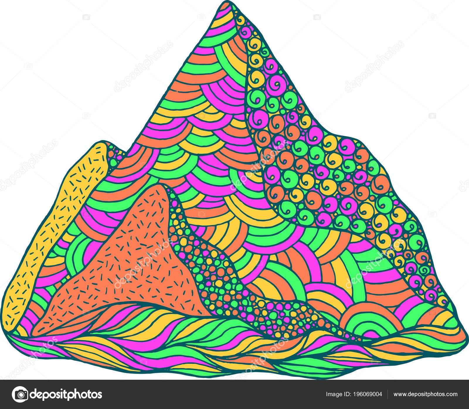 Montaña Doodle Arte Dibujos Animados Colores Psicodélicos ...