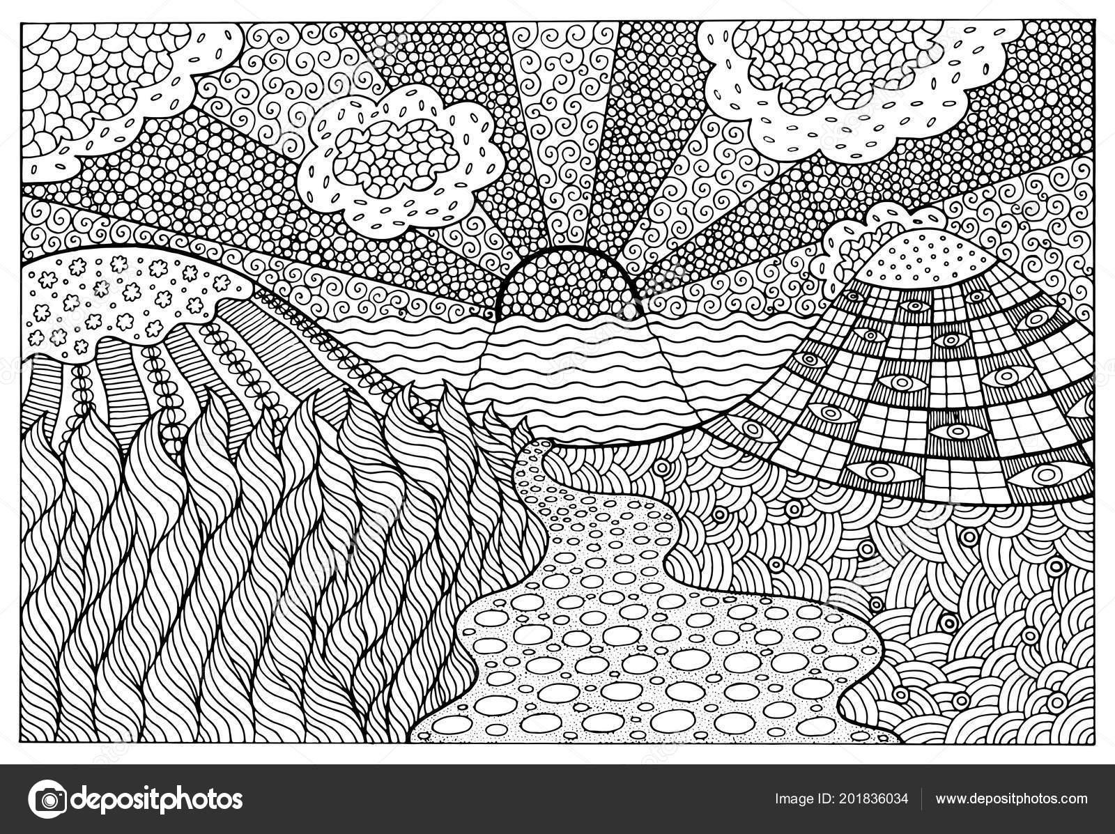 Doodle Surreale Landschaft Malvorlagen Für Erwachsene Fantastische