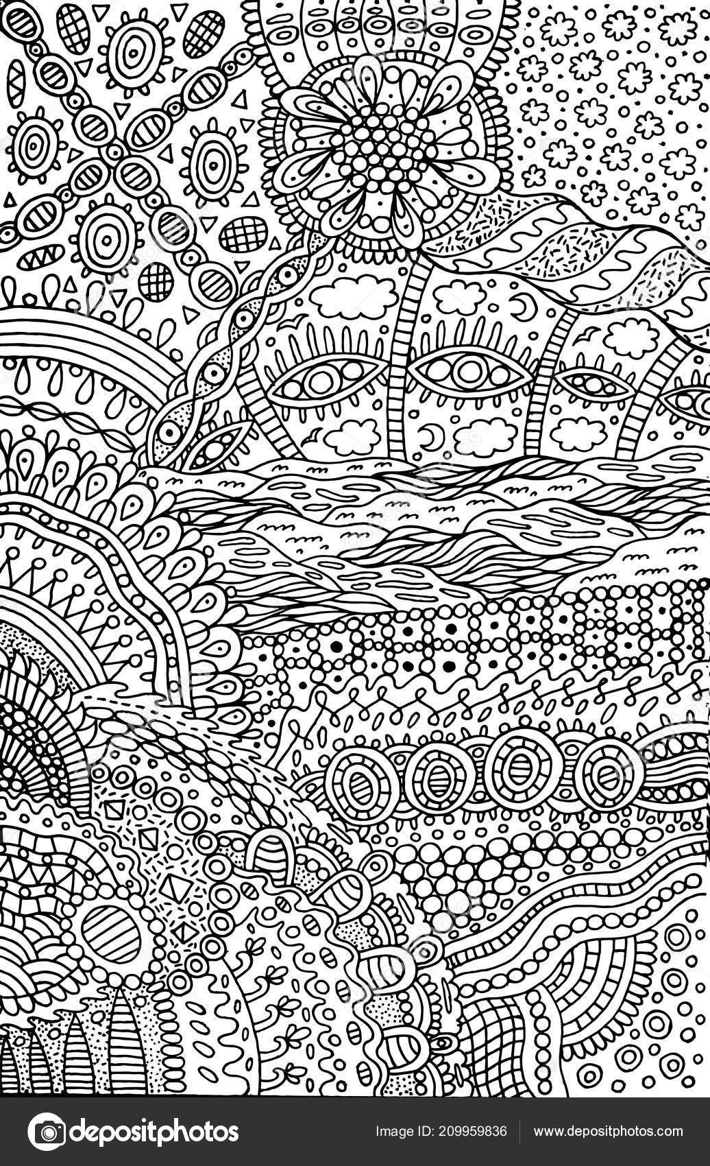 Kleurplaten Volwassenen Abstract.Psychedelische Surrealistisch Fantastische Abstracte Doodle