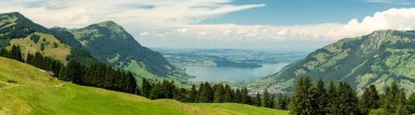 Beautiful view on Rigi Kulm peak and Lake Zug in Swiss Alps