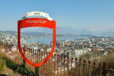 Grand Tour marker above beautiful city of Luzern
