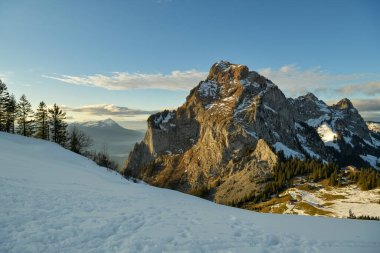 Beautiful view on snowy Grosser Mythen peak in canton of Schwyz in Switzerland as seen from Rotenflue