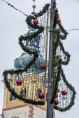 Fotografie Symbolic Christmas tree in Banska Bystrica, Slovak republic. Architectural theme. Travel destination.