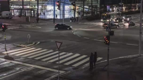 Timelapse of night traffic in crossroad, Nitra, Slovak republic, Europe. Travelling theme.