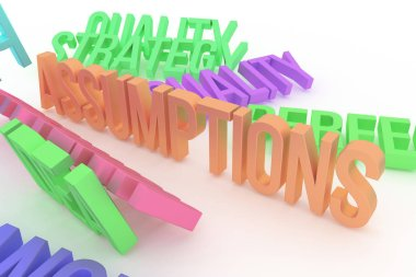 Assumptions, business conceptual colorful 3D rendered words. Background abstract CGI typography, good for design.