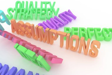 Assumptions, business conceptual colorful 3D rendered words. Good for web page, wallpaper, graphic design, catalog, texture or background.