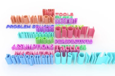 CGI typography, keywords, business related.  Colorful 3D rendering. Growth, customization, tools, innovation.