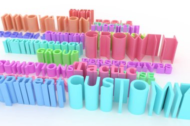 Colorful 3D rendering. Keywords, business related, CGI typography.  Perspectives, imagination, judgement, growth.