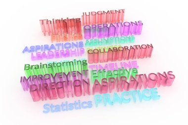 Colorful transparent plastic or glass 3D rendering. CGI typography, keywords, business related.  Statistics, improvement, finance, practice.