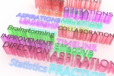 Keywords, business related, CGI typography.  Colorful transparent plastic or glass 3D rendering. Aspirations, statistics, operations, assumptions.