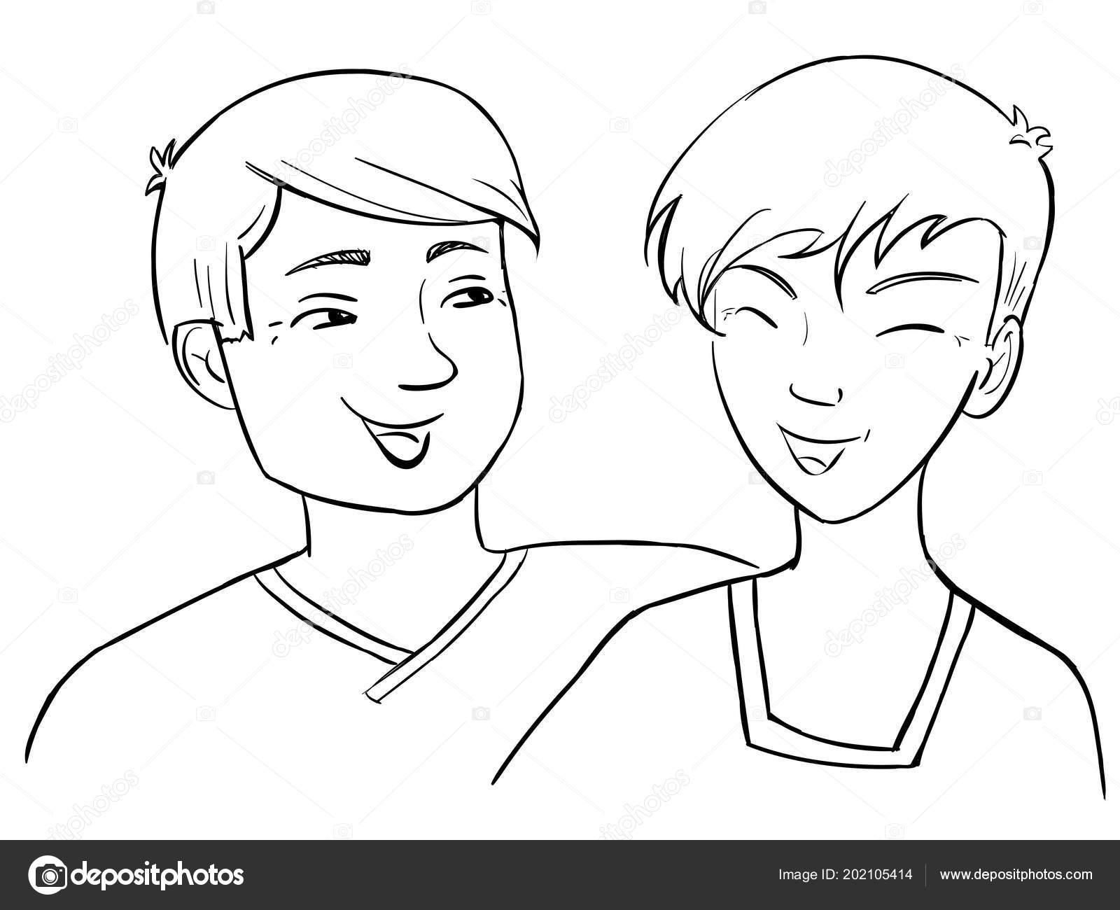 Coloring Page International Day Friendship Two Boys ...