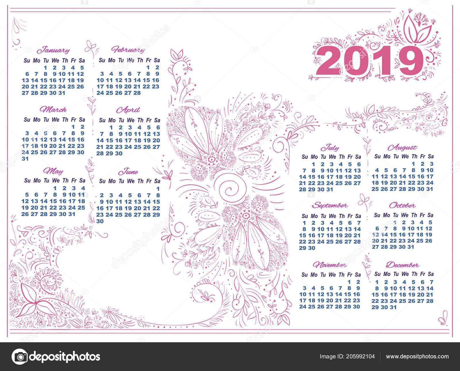 Calendario 2019 Rosa Portugues.Calendar Pink Doodle Decor 2019 White Background Stock
