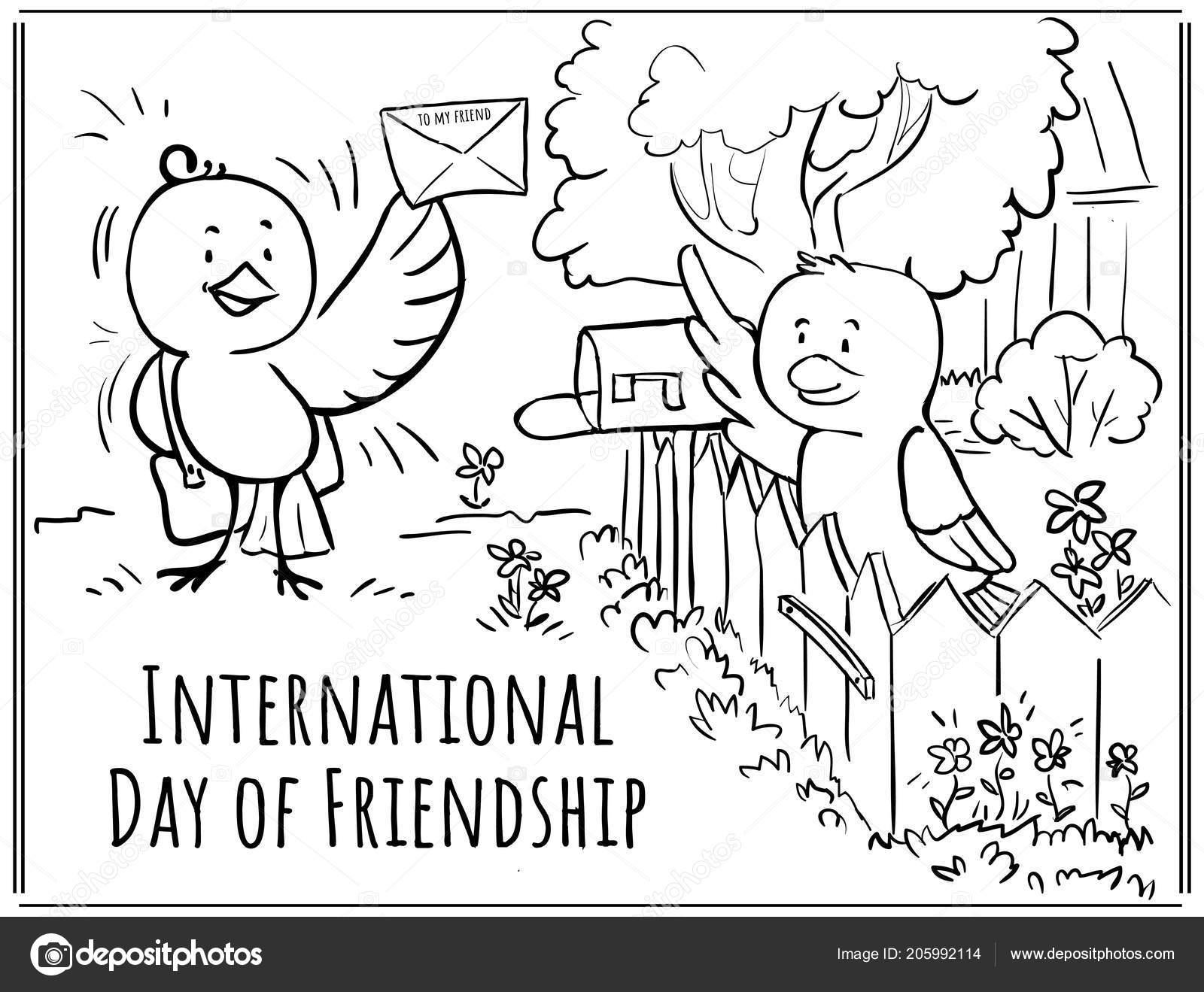 Tarjetas Para Colorear Día Amistad Aves Cartero Trae Letra