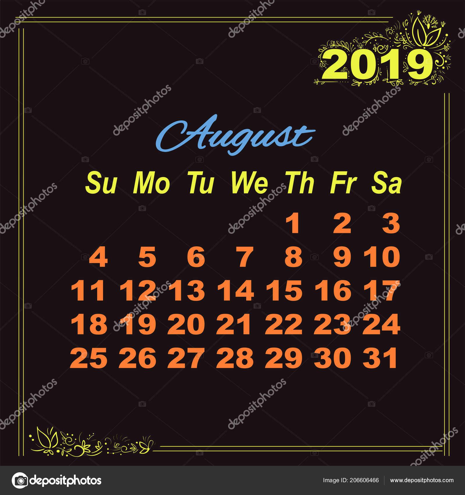 Calendario De Agosto 2019 Decorado.Amarillo Agosto Calendario Doodle 2019 Decoracion Fondo
