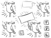 Fényképek Doodle bird icon communication social media