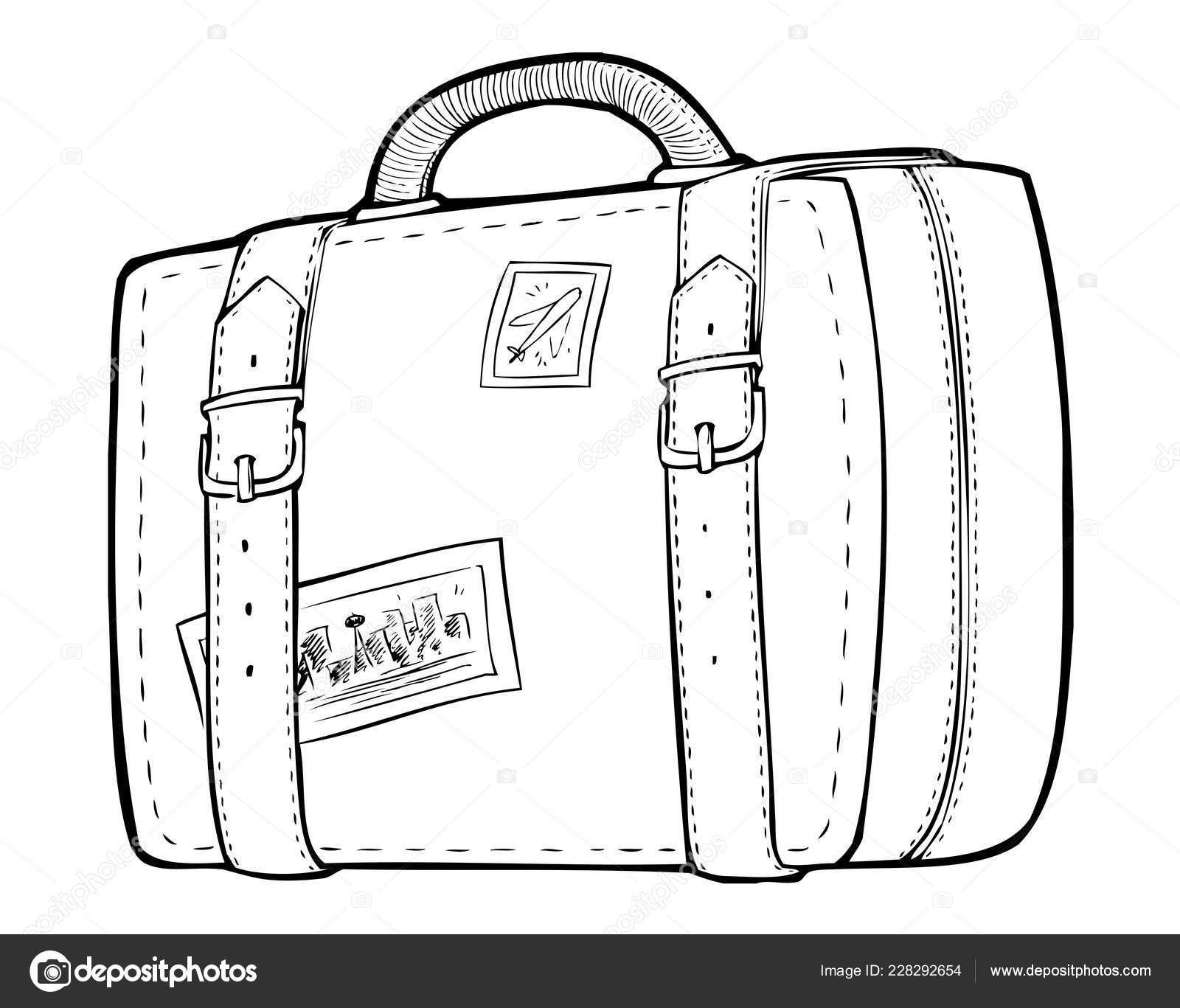 malvorlagen  linie kunst reisetasche koffer
