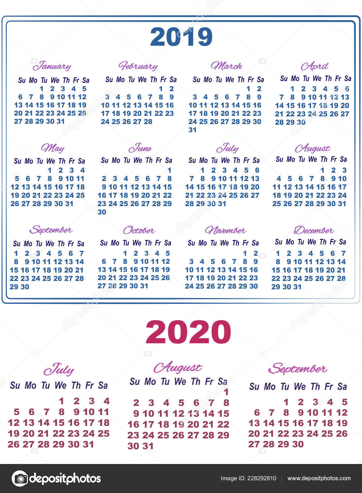 Calendario Agosto 2020.2019 Calendar With July August And September Of 2020