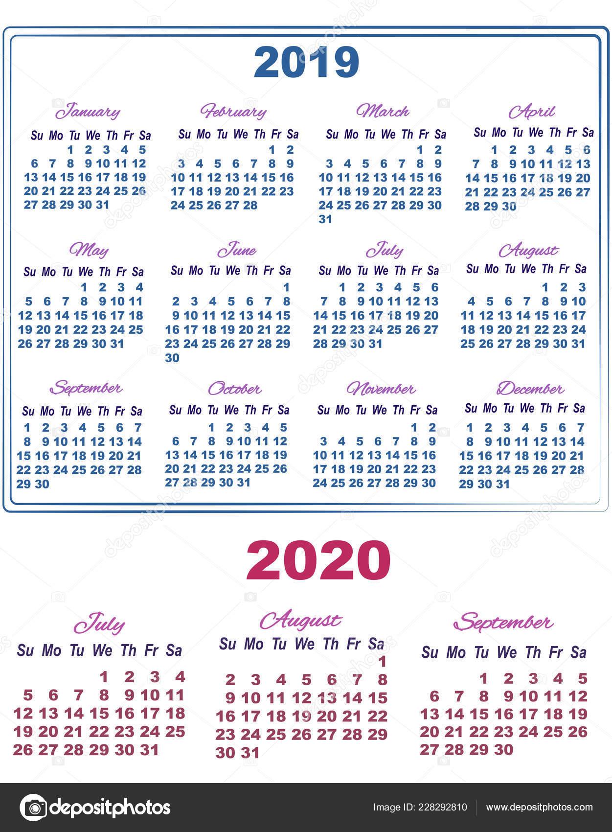 Calendrier Septembre 2020 Aout 2019.Calendrier 2019 En Juillet Aout Et Septembre De 2020